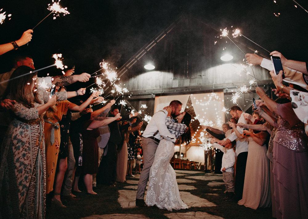 169 - Wedding sparklers exit : Deep South Farm Wedding Venue : Atlanta Wedding Photographer .jpg