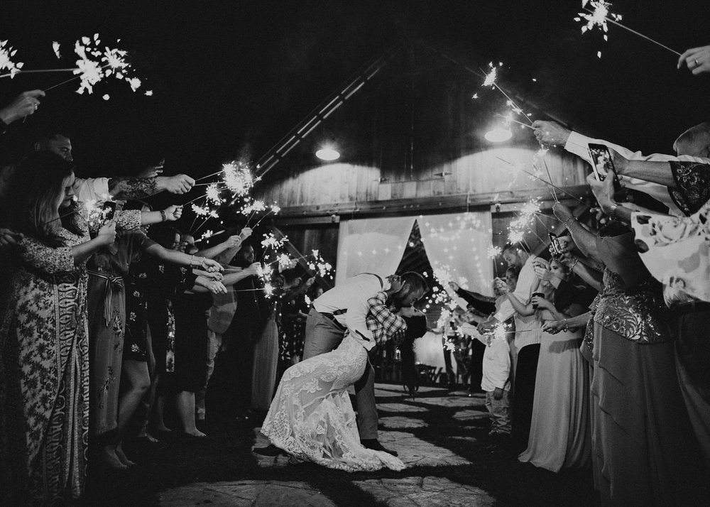 170 - Wedding sparklers exit : Deep South Farm Wedding Venue : Atlanta Wedding Photographer .jpg