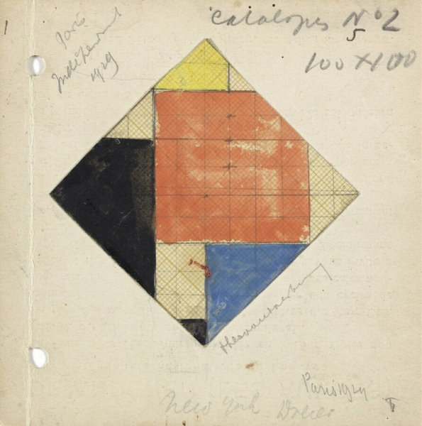 Theo van Doesburg.  Study for Counter Composition V  (1924). Pencil, watercolour paint and gouache on cardboard paper Donation of Moorsel to the State of the Netherlands, 1981. Kröller-Müller Museum, Otterlo, NL.