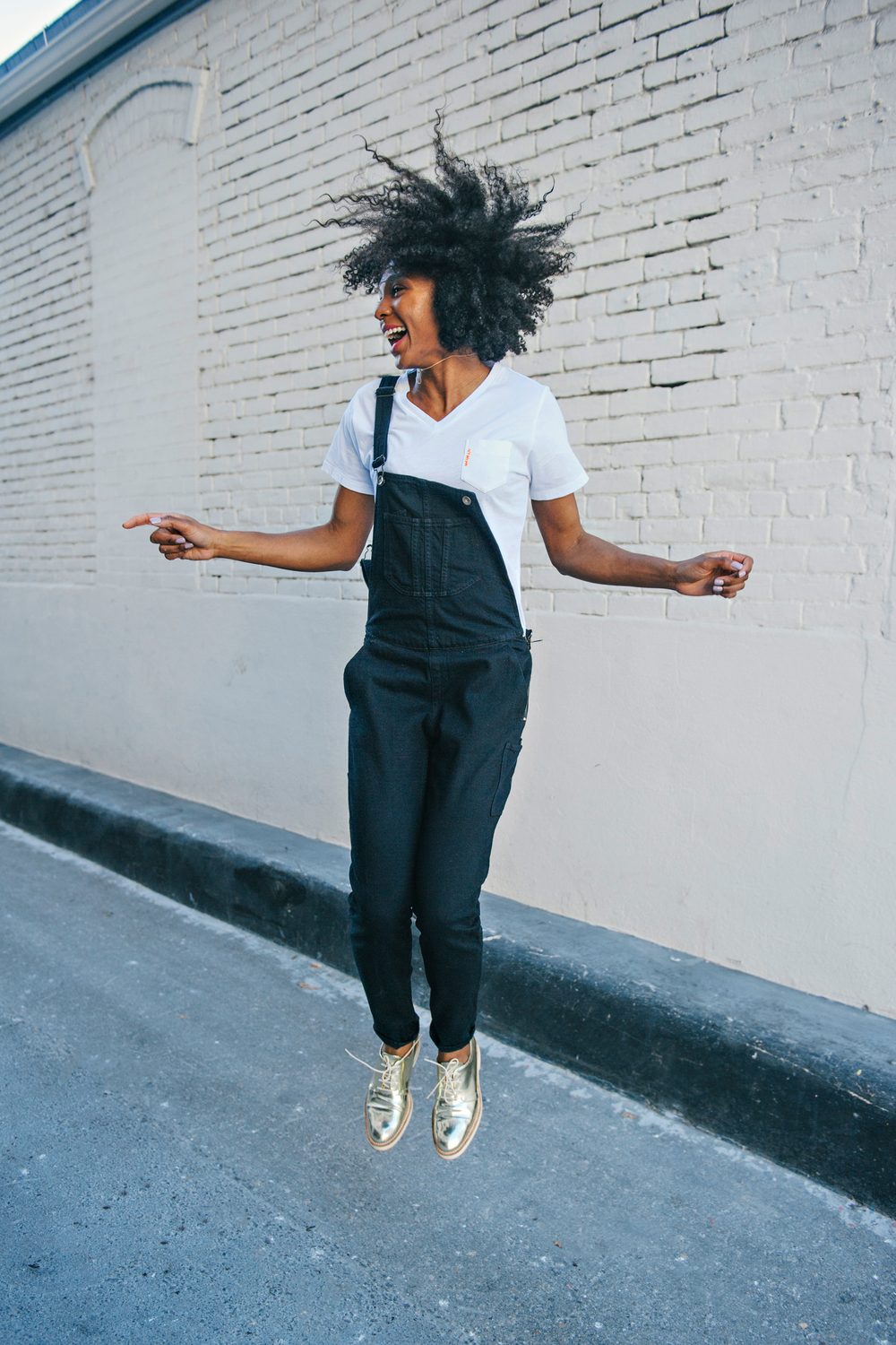 Yes, I'm this excited!!! Overall and gold oxfords makes any look a bit more playful.