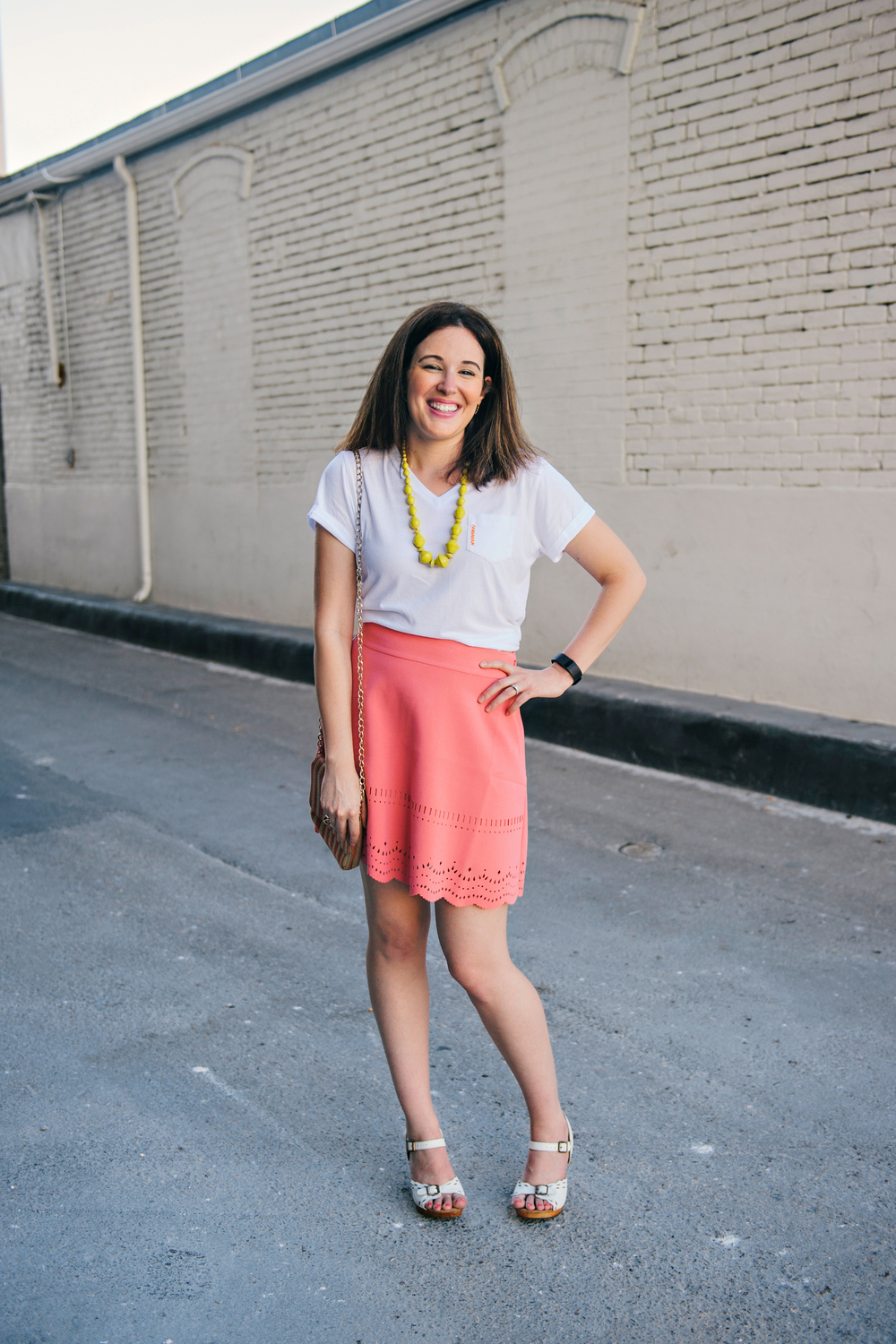 Kauuttee!! This pop of happy colors on Ashley with the coral skirt and yellow Bit necklace gets me Summer mode ready.