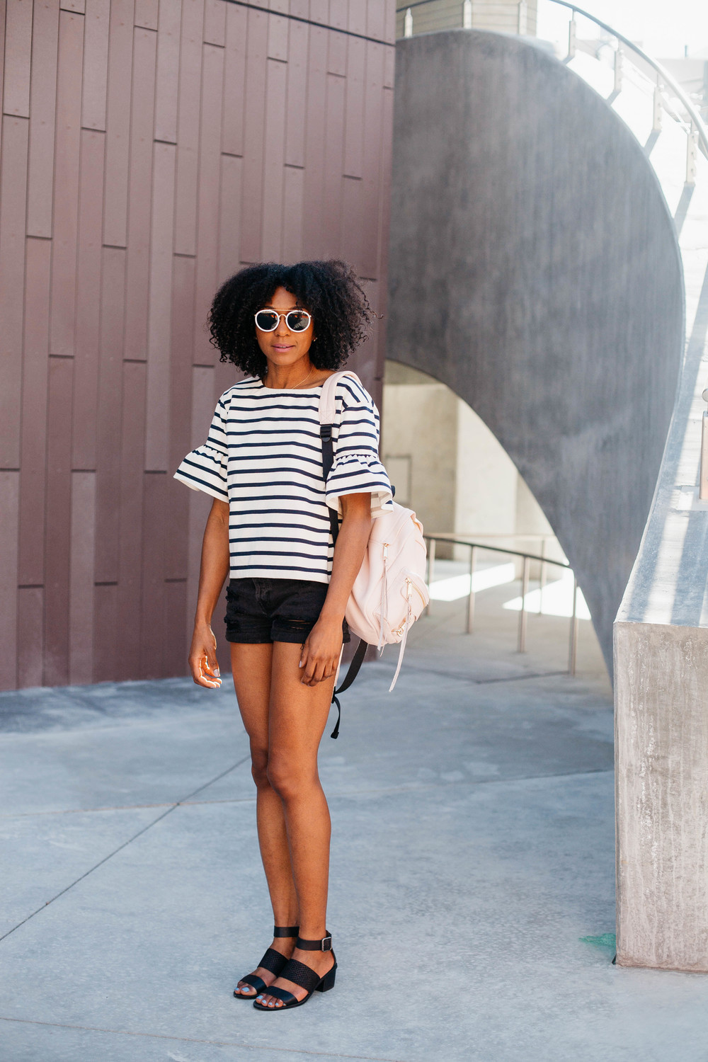 top: JCrew  denim shorts: Forever 21   Sandals: Madewell