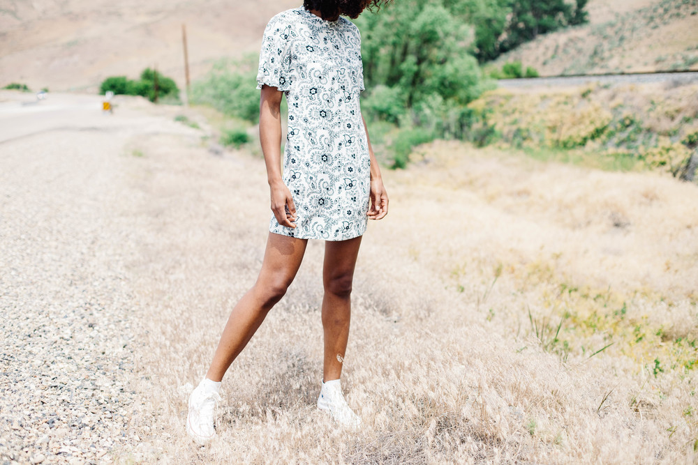 sneakers: Converse   Dress: ALC at Fancy Pants