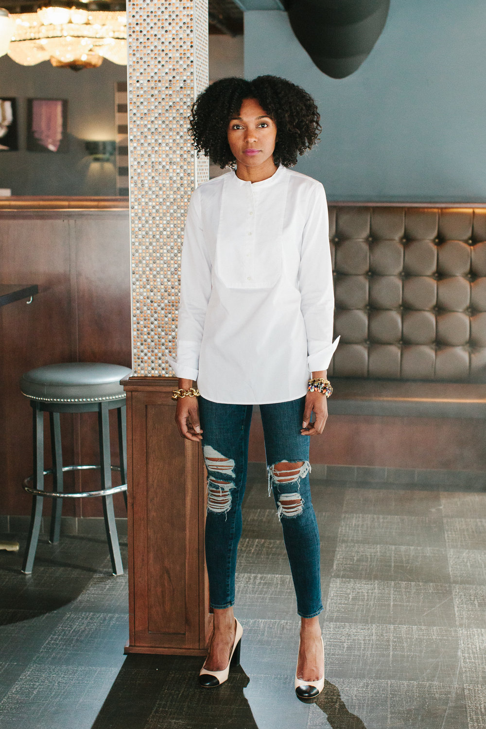 Shirt + pumps: JCrew   Denim: Frame