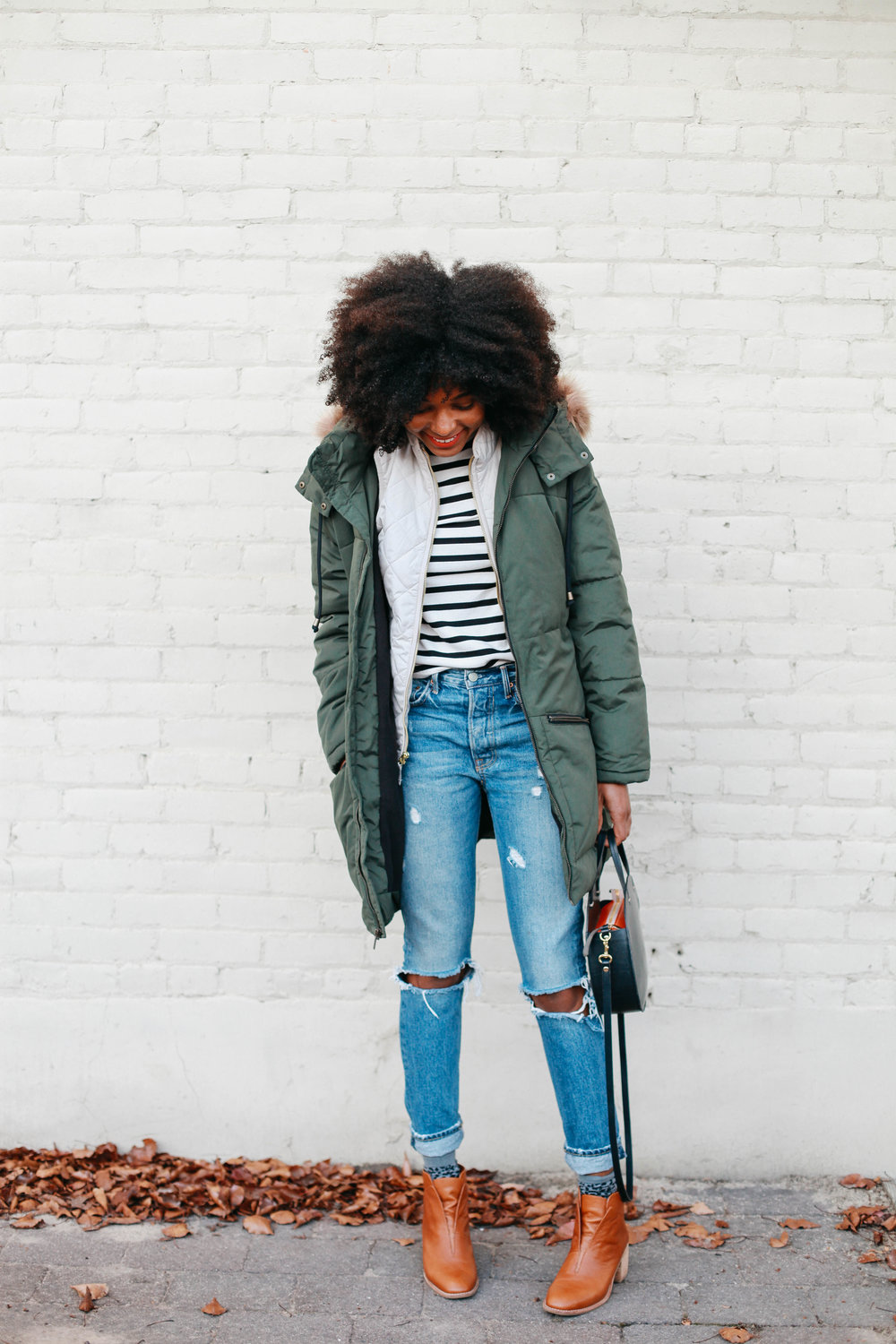 Old Navy: Coat, vest and stripe tee