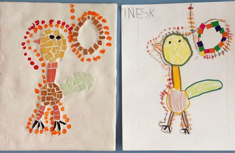 création de tableaux mosaïque inspirés par l'art aborigène