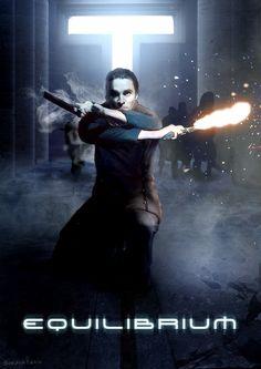 Poster for Equilibrium, showing John Preston in all his gun kata glory.