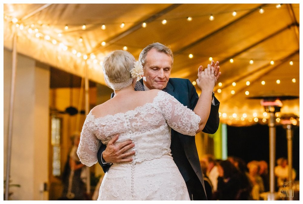 bride dances with father at the Bonnet House Fort Lauderdale Florida