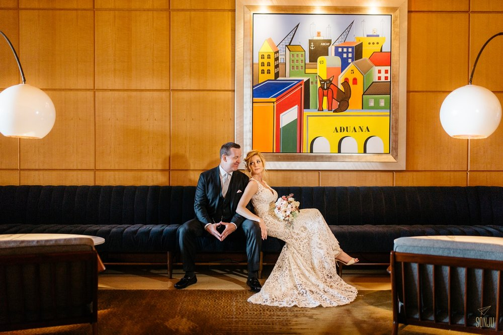 Bride and Groom portrait at the Four Seasons Miami Florida