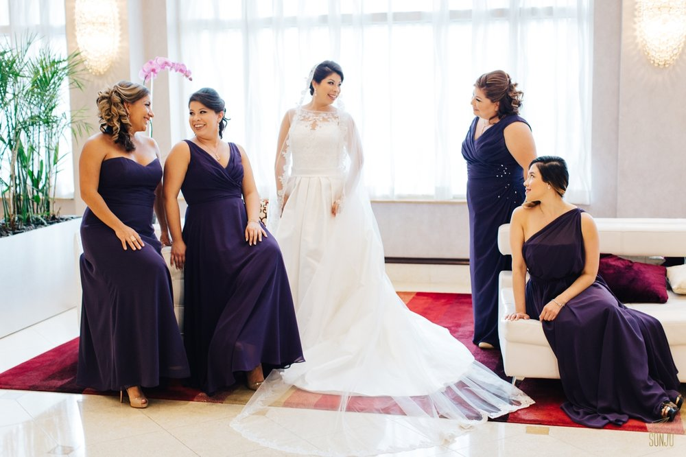 Bride and bridesmaids in lobby at Plantation Renaissance Plantation hotel