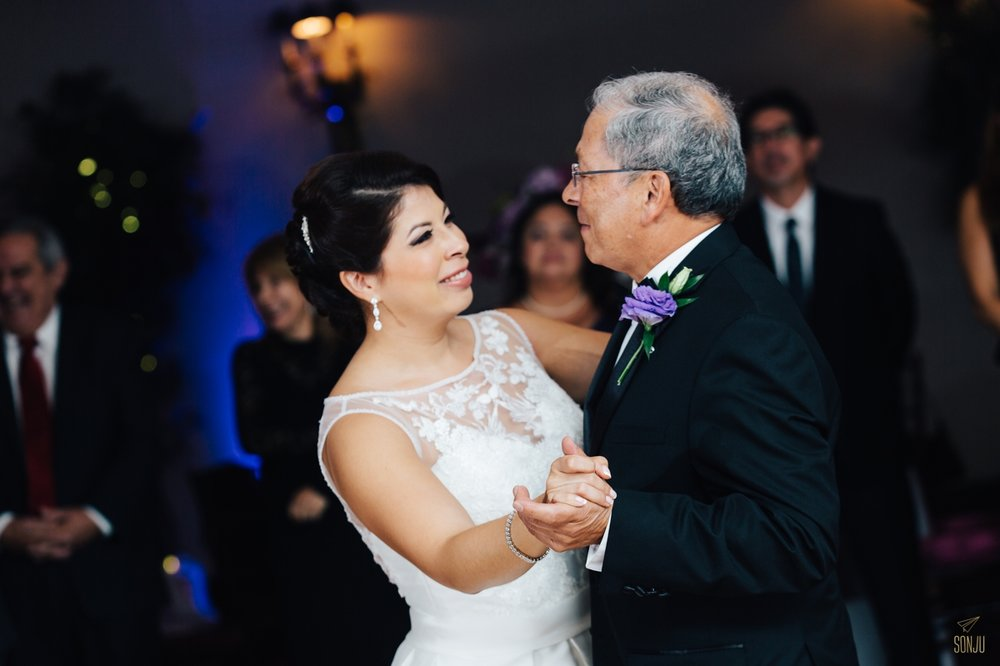 Bride dances with Father at Jacaranda Country Club Wedding