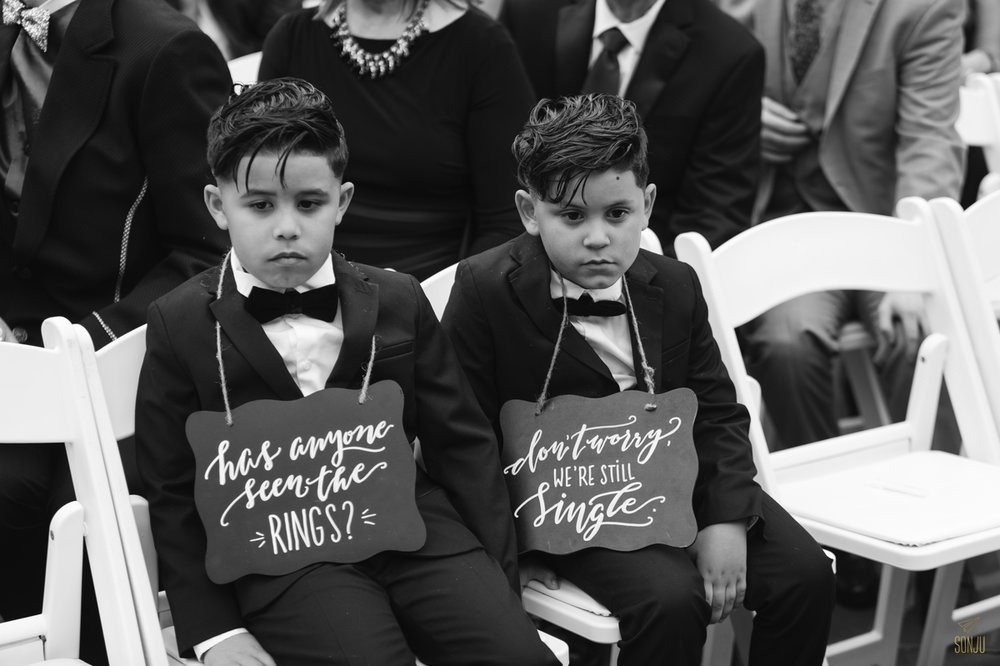 Ring bearers look bored during Ceremony