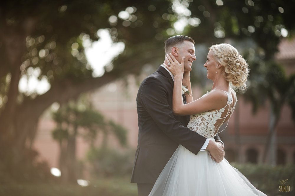 Portraits of a bride and groom at the Boca Raton Resort