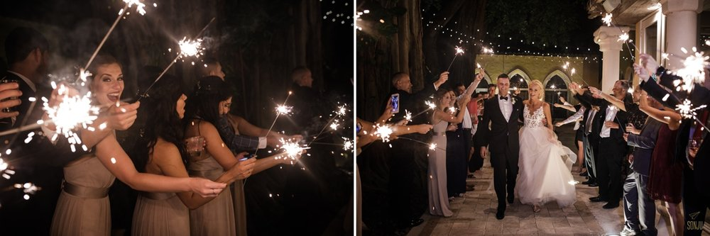 Sparkler exit at a wedding at The Addison in Boca Raton