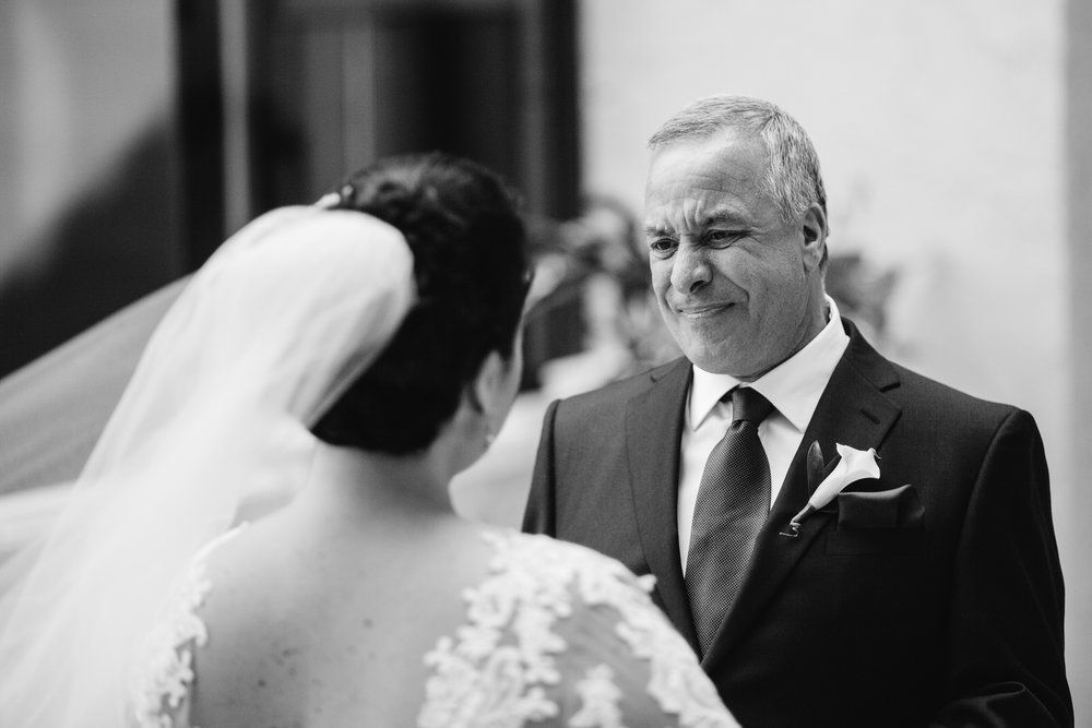 First look with Dad before the wedding ceremony at the Marriott Delray Beach