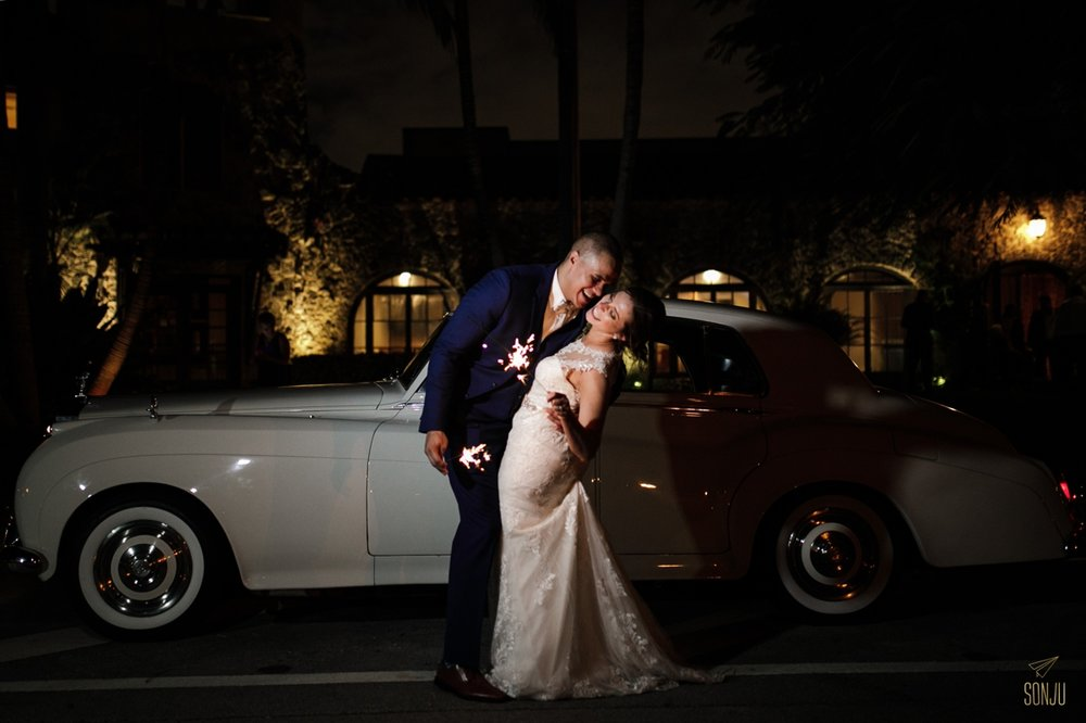 Miami-wedding-photographer-sparklers-and-classic-car