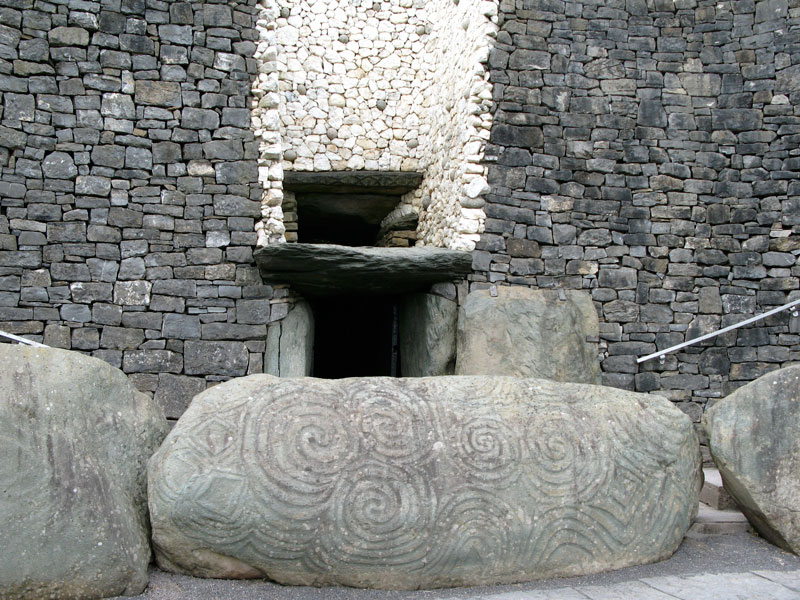 Entrance stone with megalithic art, Newgrange, Ireland.
