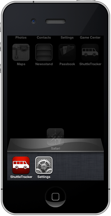 ShuttleTracker in iPhone Dock.png