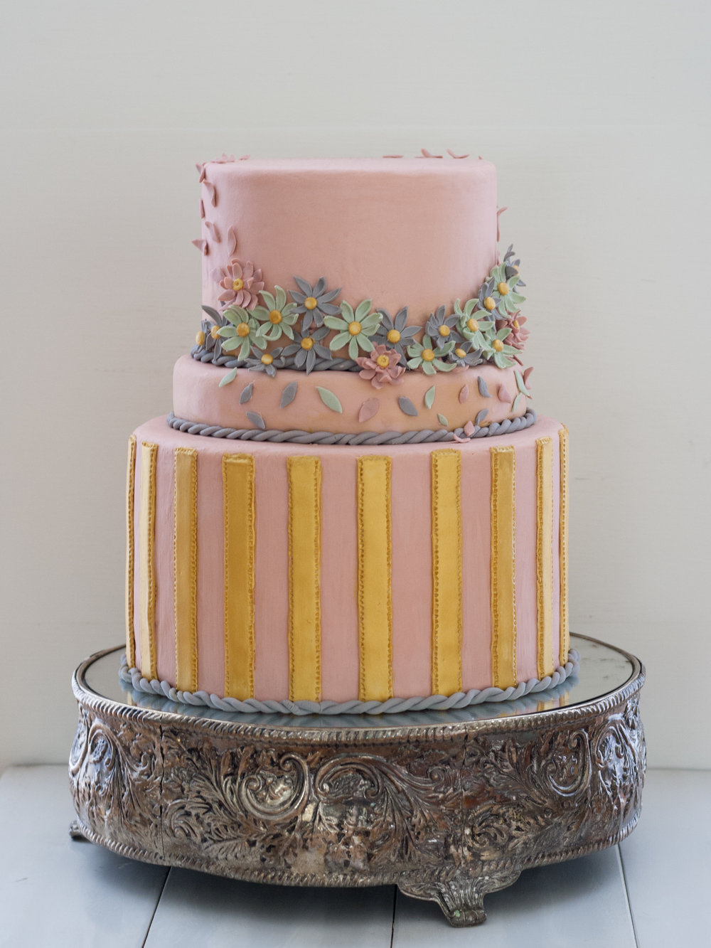 Two Tier Pink Flower Cake