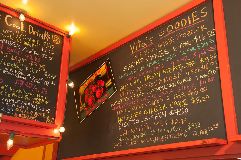 Menu board with daily specials.