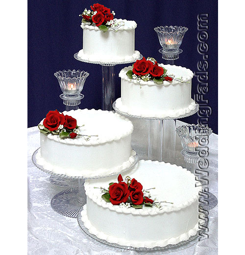 Large 4 Tier Cake Stand With 3 Candle Set