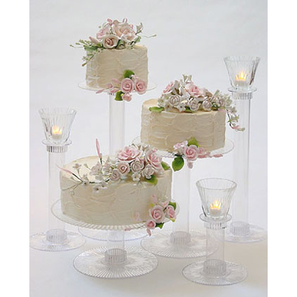 3 Tier Cake & Candle Stand Set with Glass Votives — Wedding cake ...