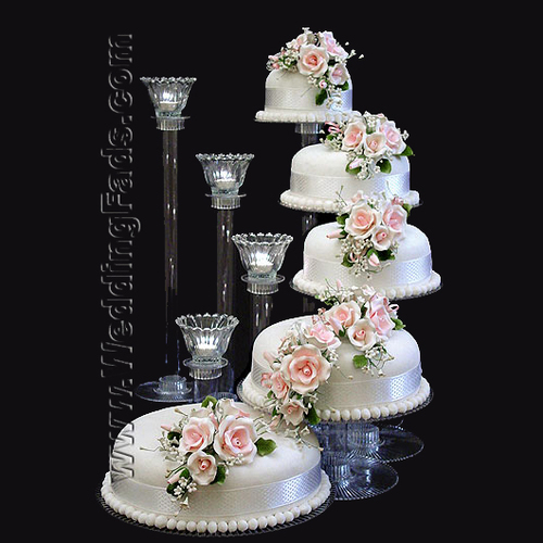 Crystal Stairway Tiers Cake Stand Candle Set With Glass Votives