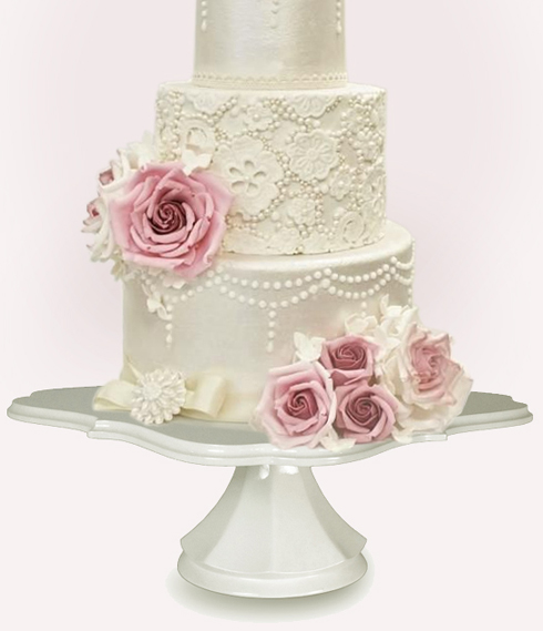 Traditional White Decosquare Wedding Cake Pedestal $129.00