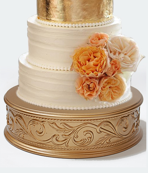 gold embossed wedding cake stands