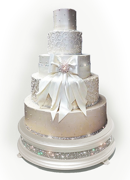 "18"" Pearl diamond bling wedding cake stand shown"