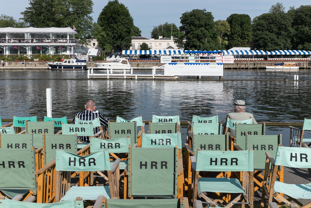 Spectators find a front row seat early before racing starts at Henley Royal Regatta.