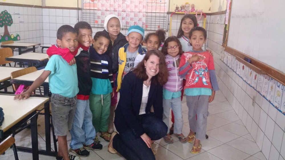 Visit with first grade class in Brazil - August 2015