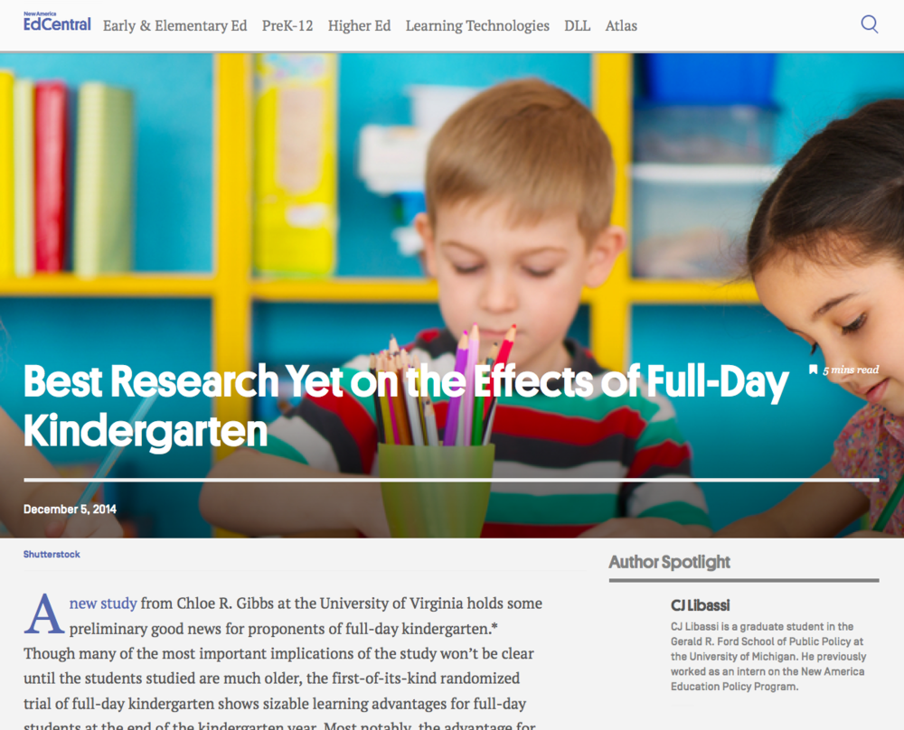 "In  ""Best Research Yet on the Effects of Full-Day Kindergarten,""  New America EdCentral discusses ""preliminary good news for proponents of full-day kindergarten."""