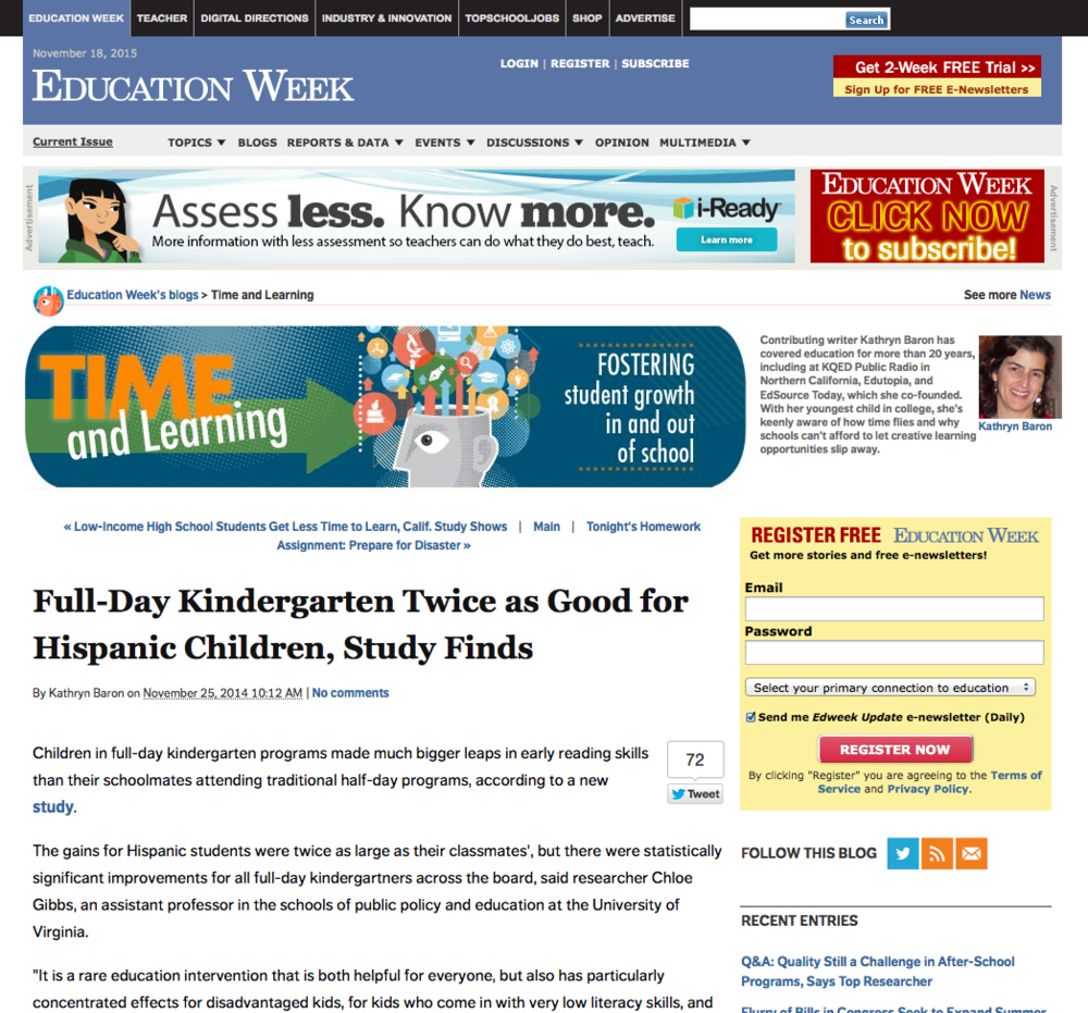 Education Week focuses o n Chloe Gibbs' full-day kindergarten findings for Hispanic children .