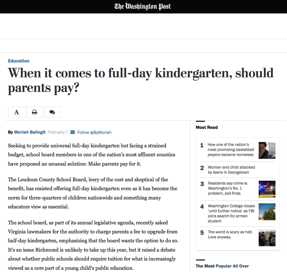 Gibbs' research is put to use by the Washington Post  in answering the question of who should pay for full-day kindergarten.