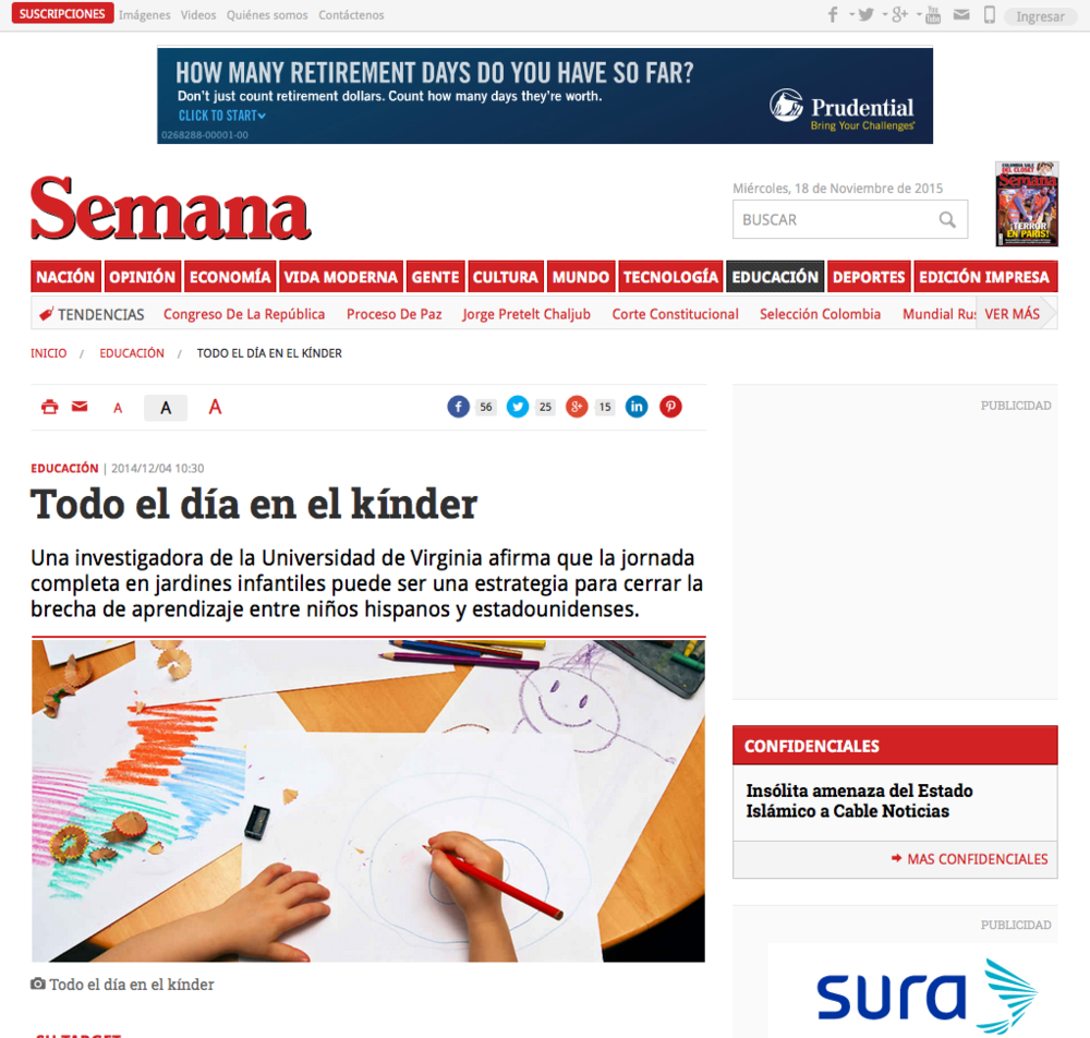 The effects of full-day kindergarten on Hispanic students shown by Gibbs' work is  highlighted by Spanish language publication Semana .