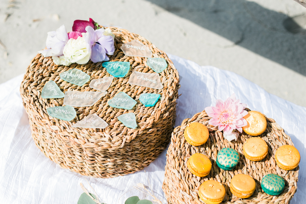 Sea Glass by  Lauren Perry Studio   Macarons courtesy of  Swank Desserts