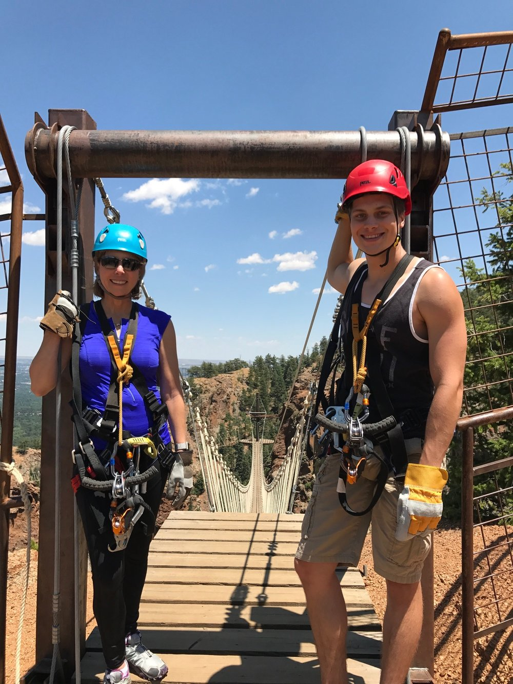 Pam Keller and her son, David, at The Broadmoor's    Soaring Adventure at Seven Falls