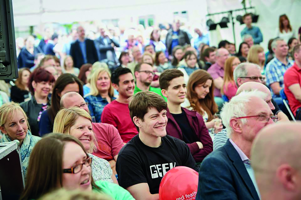 The crowds enjoying the chef demonstrations at Nottingham Castle in 2015