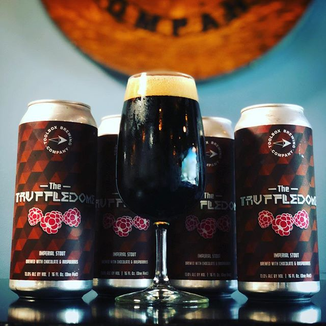 🍫TRUFFLEDOME RASP-CHOC🍫 An Imperial Stout brewed with Chocolate and Raspberries 13.0% ABV - 16oz Can $8 ea. 〰️ Now available in the tasting room and online for pickup reservations. (Link in bio.) Pickups must be within 30 days from date of purchase. Proxies allowed with valid 21+ ID. Now on tap. Complete menu available on our website. Tasting room open today 3-9pm.  Cheers! 🍻 #toolboxbrewing #truffledome #imperialstout