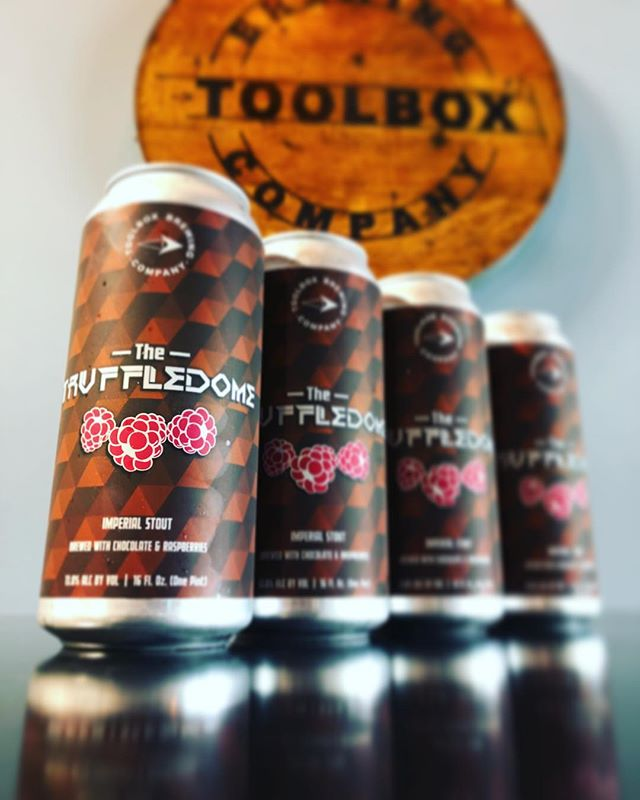 🍫TRUFFLEDOME RASP-CHOC🍫 An Imperial Stout brewed with Chocolate and Raspberries. 13.0% ABV 〰️ Now available in the tasting room and online for pickup reservations. (Link in bio.) Pickups must be within 30 days from date of purchase. Proxies allowed with valid 21+ ID. Now on tap. Complete menu available on our website. Tasting room open today 12-7pm.  Cheers! 🍻 #toolboxbrewing #truffledome #imperialstout