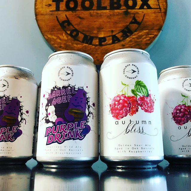 🚨Now available on tap and to go!🚨 . 🍷BA PURPLE DRINK🍷 Barrel Aged American Wild Ale w/ Blackberries - 6.8% ABV . 🍷AUTUMN BLISS🍷 Barrel Aged Golden Sour Ale with Raspberries - 7.0% ABV . Complete menu available online. Tasting room open today 3-8pm. Cheers! 🍻 . . . #toolboxbrewing #barrelaged #sourbeer #sdbeer #purpledrink #autumnbliss
