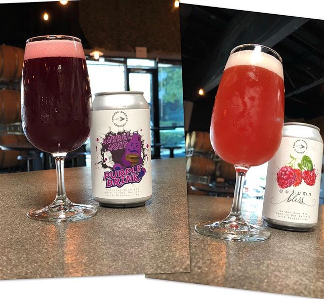 🍷BA PURPLE DRINK🍷 Barrel Aged American Wild Ale w/ Blackberries - 6.8% ABV . 🍷AUTUMN BLISS🍷 Barrel Aged Golden Sour Ale w/ Raspberries - 7.0% ABV . Available on tap and to go! Or place reservation online (link in bio). Complete menu available on our website. Tasting room open today 3-9pm. Cheers! 🍻 . . . #toolboxbrewing #barrelaged #sourbeer #sdbeer #purpledrink #autumnbliss