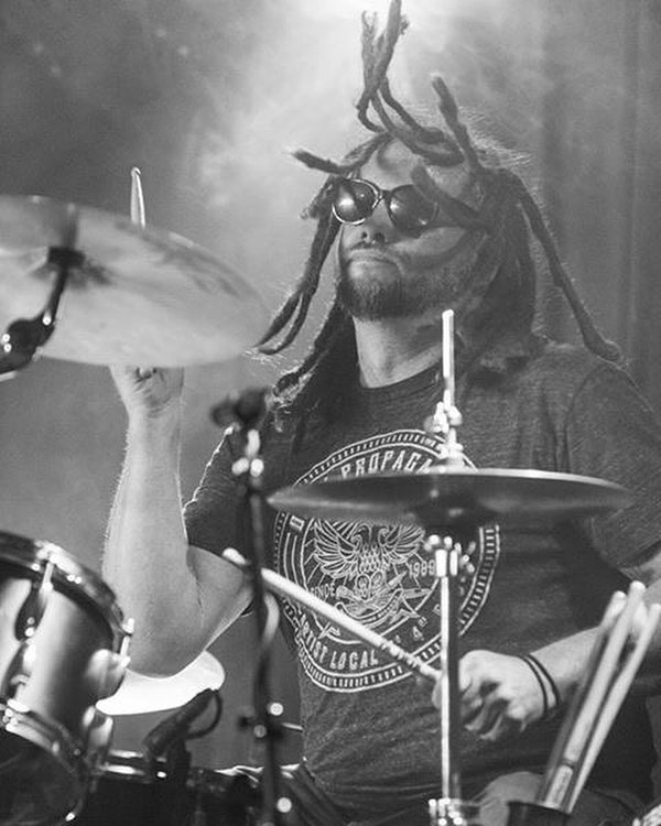 Darren hitting hard. #theshrike #drummer #portland #band #music #dreads #drums #theshrikemusic #bluenailsarmy #hyperion @devanstonphoto