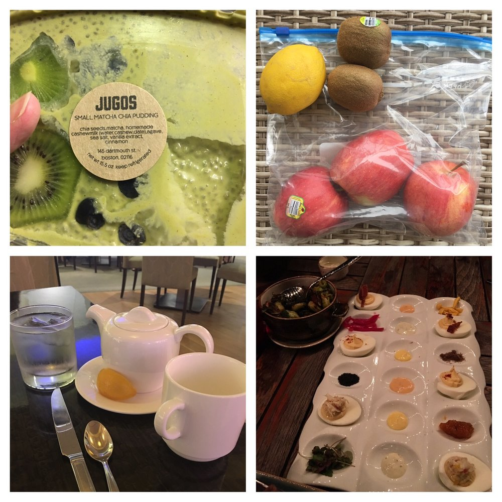 Previous travel hack photos of mine: chia pudding, fruits, asking for hot water and lemon at the breakfast buffet, and deviled eggs!