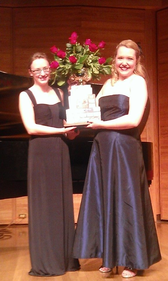Emily and her collaborative pianist, Sarah Engen, after winning the 2014 Brandon Festival of the Arts Rose Bowl.  Brandon, Manitoba: March 2014.