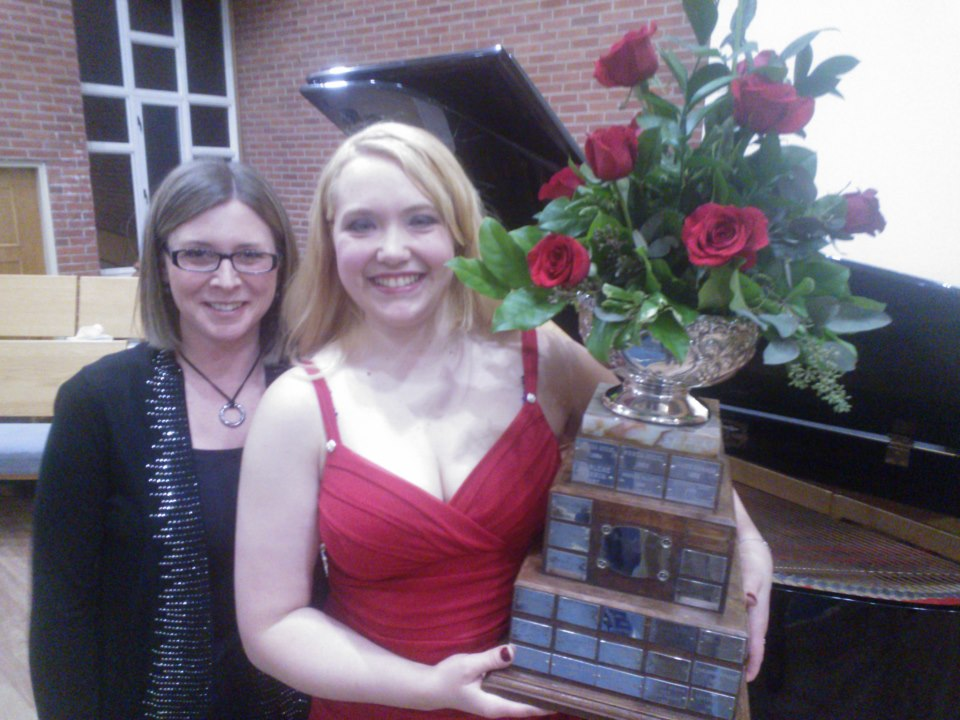 Emily and her collaborative pianist, Sherridan Anderson, after winning the 2013 Brandon Festival of the Arts Rose Bowl.  Brandon, Manitoba; March 2013.