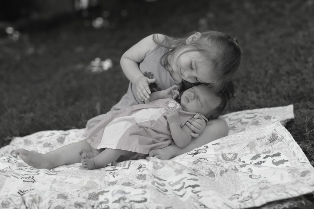 Sisters lawn B&W.JPG
