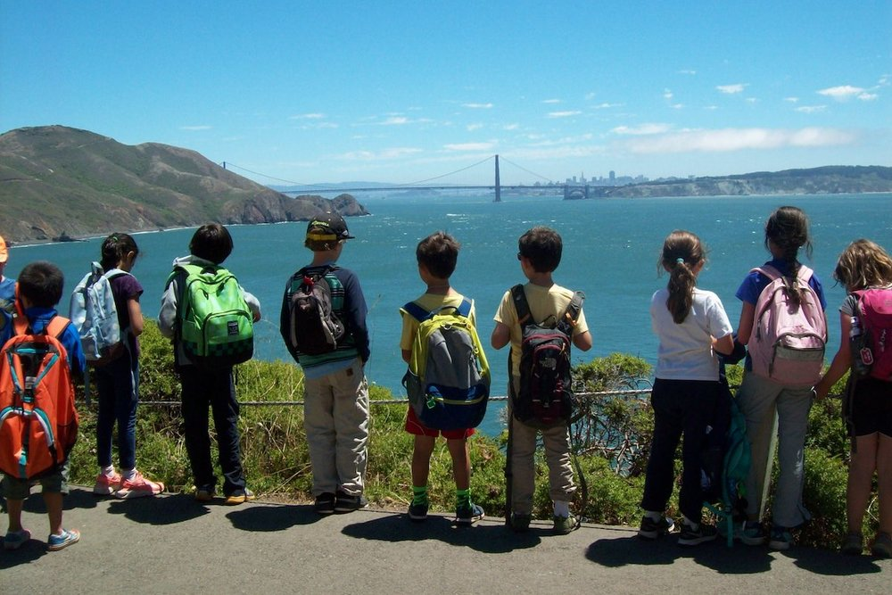 Campers looking at the golden gate bridge and the Marin Headlands