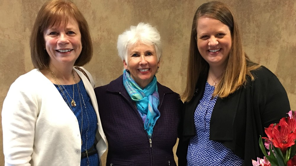 (left to right) Joan Barker, Topeka, Washburn and NONOSO Alumnae; Hon. Sally D. Pokorny, Lawrence, District Court Judge for the Kansas 7th Judicial District, Washburn Alumnae and newly inducted NONOSO member; Sarah Towle, NONOSO Alumni President.